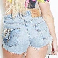 Vintage Denim Stud Pocket High Waisted Levis Shorts 501 from Beworn