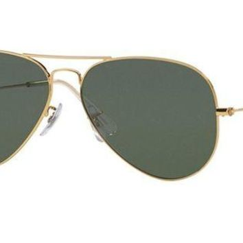 LOMFN Cheap Ray-Ban Aviator Metal Sunglasses Green 55 RB3025 Polarized outlet