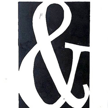 Black Ampersand Linocut Block Print 9x12 by SweetGeePrints on Etsy