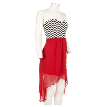 Strapless Chevron High Low Dress Jr 271365541 | Casual | Dresses | Juniors | Burlington Coat Factory