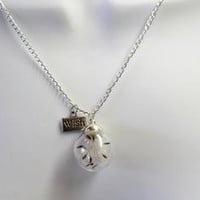 Make a Wish - Real Dandelion in Glass Globe Long Silver Necklace