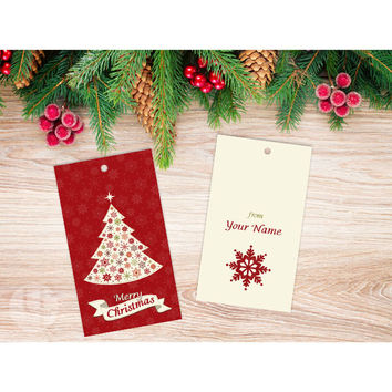 Personalized Red Christmas Tree Gift Tags