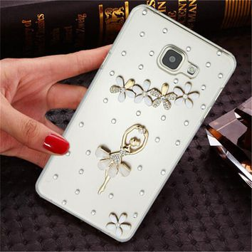 Luxury 3D fox rose bling Crystal Mobile phone Shell Transparent Back Cover Skin Hard Case For Samsung GALAXY C7 C7000