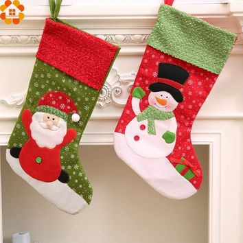 2PCS Christmas Stocking Christmas Gift Holders Santa Claus Holder Bags Home Decor Christmas Party Decoration Supplies Kids Gifts