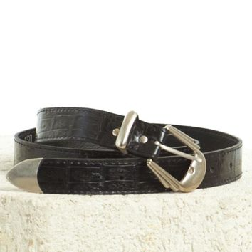 Vintage 90's Yee Haw Metal Capped Belt - L/XL