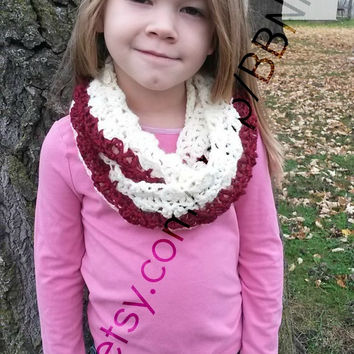 Crimson and Cream Children's Cowl / Infinity Scarf ( Red, White, crimson, shell, crochet, chevron)