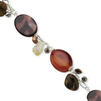 Sterling Silver Carnelian/Citrine/Crystal/MOP/Tiger's Eye Bracelet Length 7.25""