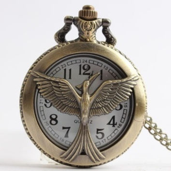 New Hunger Games 3 large bird wings rebirth hollow laugh flip pocket watch (Color: Bronze) = 1754095940
