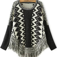 Black and White Geometric Print Batwing Tassel Trim Sweater