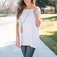 Simple Confections Piko Top, Heather Gray