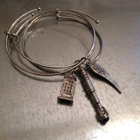 Time Lord 10 with UK Phone Booth and Angel Wing Bracelet