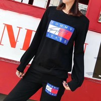"""Tommy Hifger Jeans"" Women Casual Fashion Letter Multicolor Pattern Print Long Sleeve Sweater Trousers Set Two-Piece Sportswear"