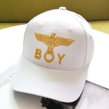 BOY New fashion embroidery letter eagle couple hat cap White