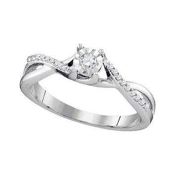 10kt White Gold Womens Round Diamond Solitaire Twist Bridal Wedding Engagement Ring 1/6 Cttw