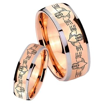 His Hers Rose Gold Dome Irish Claddagh Two Tone Tungsten Wedding Rings Set