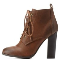 Cognac Burnished Chunky Heel Lace-Up Booties by Charlotte Russe