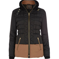 River Island Womens Black two-tone color block padded jacket
