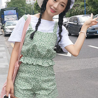 Green Polka Dot Mini Overalls