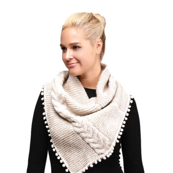 The Pom Pom Tube -Natural Cable Knit Capelet