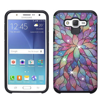 Galaxy J7 Case, Samsung Galaxy J7 [Shock / Impact Resistant] Diamond Hybrid Dual Layer Defender Protective Case Cover for Galaxy J7 (Boost Mobile,Virgin,MetroPcs,T-Mobile), (Rainbow Flower)