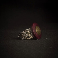Vintage Button Ring, Maroon Embossed Button, Vintage Statement Ring