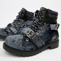 Pieces Velvet Hiking Boot at asos.com