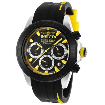Invicta 17191 Men's Speedway Chronograph Yellow Accent Black Dial Rubber Strap Dive Watch