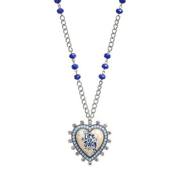 Juicy Couture ''Life is Juicy'' Heart Necklace (Blue)