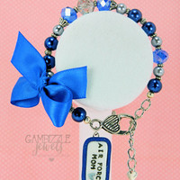 air force wife mom sister daughter aunt girlfriend bracelet in blue and silver with polymer clay charm