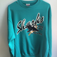 teal/aqua san jose sharks NHL hockey crew neck sweatshirt