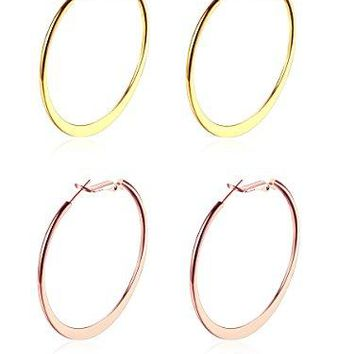 Hoop Earrings2quot 50mm Stainless Steel Flat Round 18k Gold Rose Gold Silver Plated Hula Circle Large Basketball Huggy Hoop Earrings for Womens girls sensitive ears