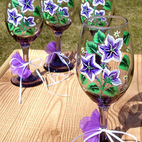 Purple and White Flowered Wine Glasses