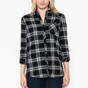 Plaid Flannel Button Down Shirt with Detachable Hood