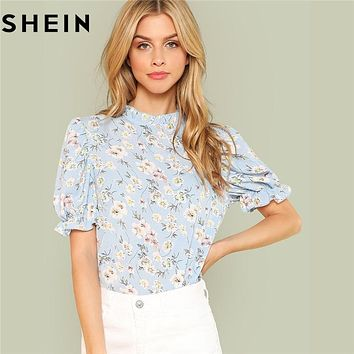 56a9ef94d8cc SHEIN Office Lady Tops Ruffle Floral Blue Blouses 2018 New Women