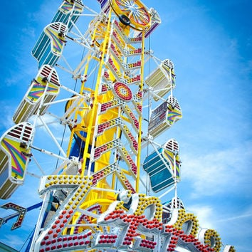 Zipper Carnival Ride Photo, Vintage Art Photography, Nursery Art and Home Wall Decor, Fine Art Photography Boys and Girls Decor Circus
