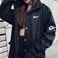 NIKE AIR autumn and winter tide brand female tooling hooded windproof jacket