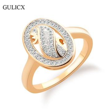 GULICX 2016 New Fashion Big Midi Ring for Women  Gold-color Ring Oval Crystal Cubic Zirconia Wedding Band R252
