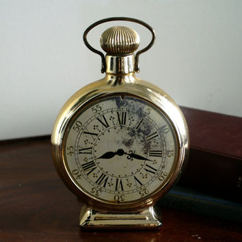 Vintage Avon Clock Bottle Large Pocket Watch Style After Shave Lotion Decanter