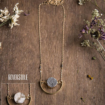 REVERSIBLE DRUZY PENDANT - Titanium Coated Druzie Crystal, Raw Gemstone Jewelry, Long Layering Necklace, Boho Chic Jewellery, Moon Child