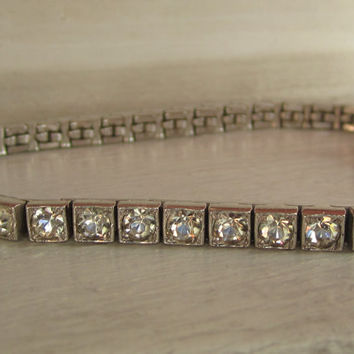 "Art Deco ""OTIS"" Sterling Silver Rhinestone Bracelet Bridal Accessory Wedding Jewelry Something Old, Something Borrowed"