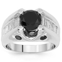 18K White Solid Gold Mens Diamond Ring with Black Diamonds 5.35 Ctw