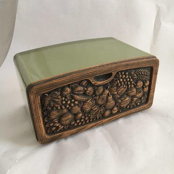 metal bread box vintage storage container Faux wood fruit 60s 70s avocado green kitchen