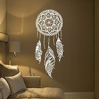Dream Catcher Decal Feather Sticker Boho Dreamcatcher Wall Decals for Bedroom Nursery Bohemian Bedding MN923