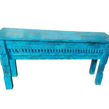 Teal Blue Antique Coffee Table Beautiful Hand Carved Console Vintage Distressed Solid Wooden Table
