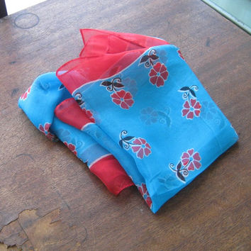 Vintage Turquoise Blue Bohemian Scarf - Small Red Flower Print on Sheer Turquoise Scarf - Blue Rayon Chiffon Folkloric Head Scarf