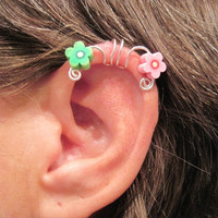 "No Piercing ""Painted Daisy"" Ear Cuff for Cartilage Helix Handmade 1 Cuff Silver Tone Wire and Pink & Green Daisies"