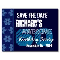 60th Birthday Save the Date Blue Pattern Postcards