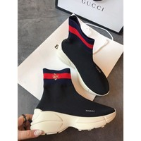 GUCCI Embroidery Bee Socks Boots Sneaker