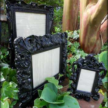 3 Gloss Black Wedding Decor-Matching Frames,Formal Reception,Modern Home,Paris Black,8x10,5x7,2x3, Frame,Goth,Gloss Black,Fancy Frame,Rococo