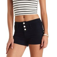 "Refuge ""Hi-Waist Shortie"" High-Waisted Jean Shorts - Dark Rinse Denim"